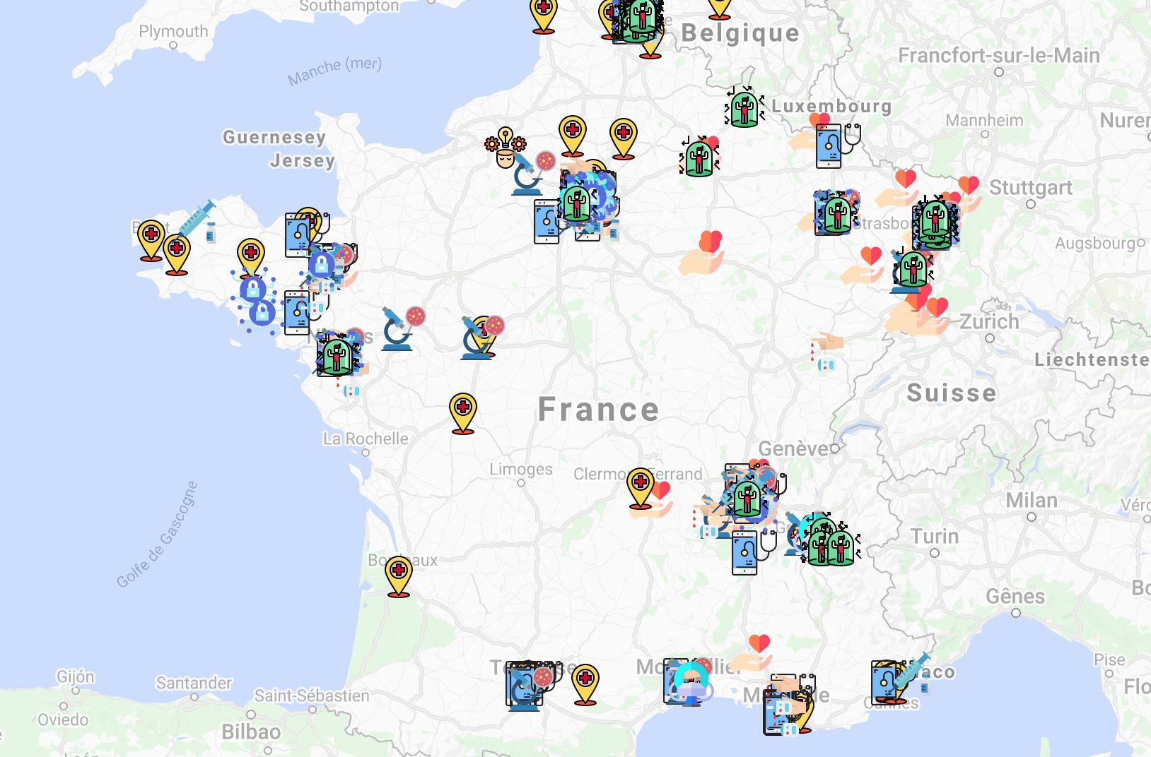 Cartographie des projets Covid-19